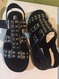 e7ef78129223e Ladies STEVE MADDEN black SHARON sandals sz. 7 1 2 super cool STUDS   fashion  clothing  shoes  accessories  womensshoes  sandals (ebay link)