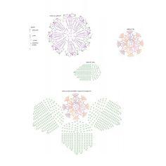 Material: - 1 novelo de Duna na cor 9245; - 2 novelos de Duna na cor 9392; - 4 novelos de Duna na cor 8176; - Agulha Círculo para crochê 3,5 mm.      Execução: Flor (9x): com o fio na cor vermelho/bordô, fazer 5 correntinhas, fechar em circulo com 1 p.bxmo. e