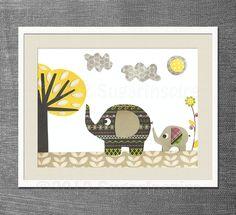 Gray elephant Nursery Art Print, Kids Room Decor, Baby / Children Wall Art - gray and yellow, Tree, Baby Elephant,