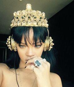 Royal headphones for a Queen  Rihanna rocking $8,895 Dolce Gabbana headphones