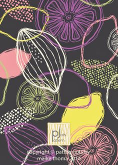Pattern with lemons in lila, green, white, and rose on a grey background by Maike Thoma