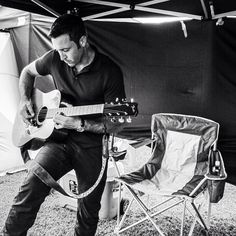 ♥♥♥ Alex showing off his guitar skills in the cast tent #CBSInstagramTakeover