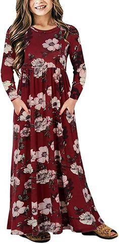 Amazon.com: GORLYA Girl's Short Sleeve Floral Print Loose Casual Holiday Long Maxi Dress with Pockets 4-12 Years: Clothing