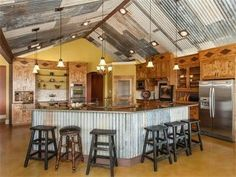 I like the tin roof look on the inside