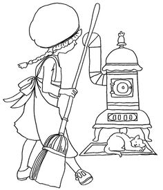 Girl Sweeping w Cat by Stove by JenineMD, via Flickr