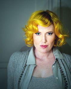 Vintage style yellow hair