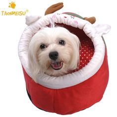TAONMEISU Winter Warm Soft Deer Pattern Anti-Slip Pet Dog House Kennel Mascotas Bed For Dogs Christmas