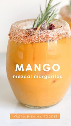 Mango Mezcal Margaritas - This margarita recipe for everyone's favorite Mexican cocktail is perfect for parties. Mezcal Cocktails, Sangria, Mezcal Margarita, Easy Cocktails, Fun Drinks, Yummy Drinks, Alcoholic Drinks, Beverages, Sweet Cocktails