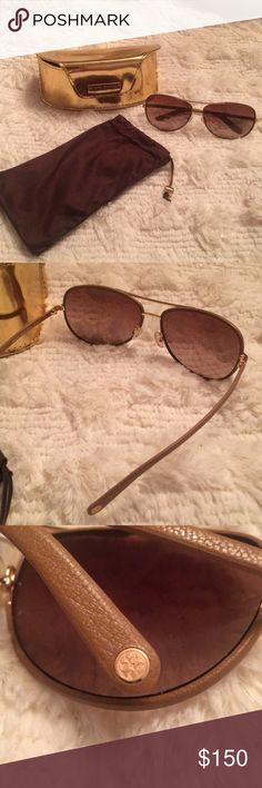 Tory Burch Aviators Tory Burch Aviator Sunglasses. Case & Bag included. No Scratches.leather trimmed. Tory Burch Accessories Sunglasses