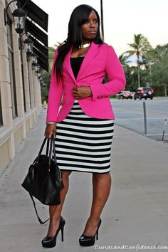 2 black and white striped pencil skirt and hot pink blazer, curves and confidence