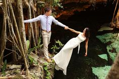 Riviera Maya cenote trash the dress shoot. This gorgeous couple ROCKED this session in the caverns, cenotes and beaches of the Yucatan Peninsula!  Wedding photographers Del Sol Photography