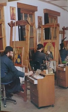 Orthodox Monks writing icons [notice the adaptation at top of easel that allows…