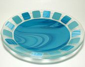Blue and blue/green fused glass bowl