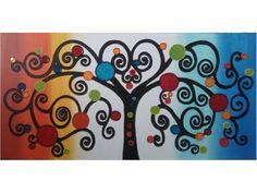 cuadro pintado a mano con acrilico u oleo con tecnica mixta sobre lienzo y bastidor de madera de 3cm de grosor, arbol de la vida de colores naranja, azul, amarillo, rojo