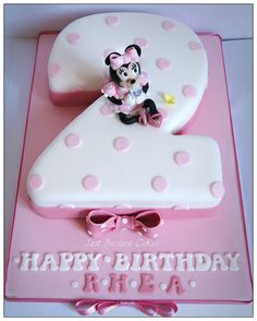 Minni Mouse Second Birthday Cake for Girls / Number 2 cake with Minnie Mouse