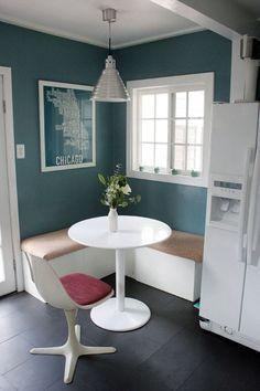 kitchen - Corner Seating in Small Kitchen / Molly & Tyler's Minty Cottage Kitchen Kitchen Nook, New Kitchen, Kitchen Small, Awesome Kitchen, Kitchen Ideas, Kitchen Windows, Kitchen Seating, Small Kitchens, Kitchen Corner Bench