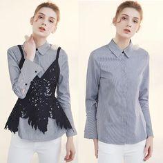 Blue Stripe Long Sleeve Button Down Boho Chic Casual Shirts Women SKU-11407416