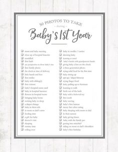 Printable list of 50 photos to take during your baby's first year. Capture the precious newborn moments before they're gone!
