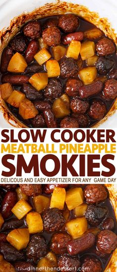 Slow cooker meatball pineapple smokies are a delicious and easy appetizer party appetizers holidays christmas thanksgiving nye gameday dinnerthendessert oven baked ham and cheese sliders Fingerfood Party, Appetizer Party, Slow Cooking, Slow Cooker Recipes, Cooking Recipes, Slow Cooker Appetizers, Appetizer Meatballs Crockpot, Meatball Appetizers, Party Meatballs