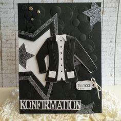 Kort til konfirmation - dreng og pige - Hobitik.blog.dk Confirmation Cards, Marianne Design, Masculine Cards, Nye, Gift Cards, Gifts, Inspiration, Blog, Cards