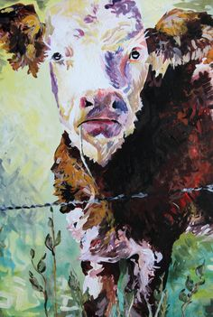 Limited edition cow art PRINT of original acrylic painting HEREFORD, original farm animal art illustration, Hereford cow painting by IdahoMeg on Etsy https://www.etsy.com/listing/483194479/limited-edition-cow-art-print-of