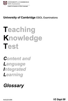 TKT CLIL glossary - Cambridge University