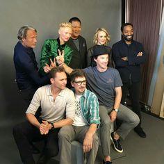 That moment when Tom Hiddleston photobombs the Doctor Strange cast. #Lokid