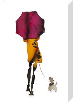 What to Wear When Walking the Dogs - Umbrella Art Print by Bridget Davies at King & McGaw Watercolor Paintings For Beginners, Watercolor Portraits, Painting Techniques, Watercolor Fashion, Watercolor And Ink, Watercolor Illustration, Painting People, Figure Painting, Dog Umbrella