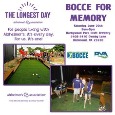Come out and join us at Hardywood in #RVA on June 20th and help #ENDALZ! #alzheimers #dementia Get involved at http://act.alz.org/goto/BocceForMemory