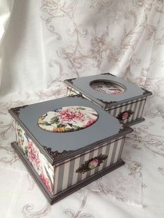 Photo Decoupage Vintage, Decoupage Box, Painted Jewelry Boxes, Painted Boxes, Wooden Boxes, Altered Boxes, Jewellery Boxes, Vintage Box, Diy Box