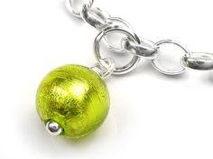 Murano Glass Charms - Round Green Tones