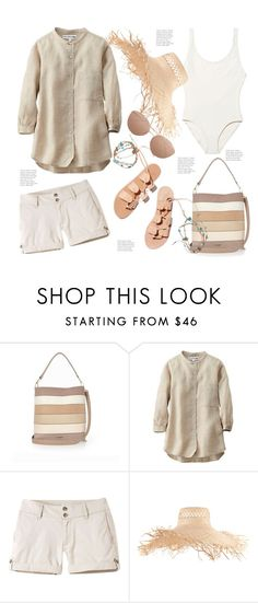 """""""Beach Resort Style"""" by hattie4palmerstone ❤ liked on Polyvore featuring River Island, Uniqlo, Ancient Greek Sandals, Mountain Khakis, Eugenia Kim and Linda Farrow"""