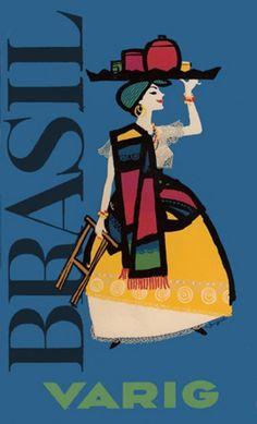 Brasil, Varig (vintage travel poster)