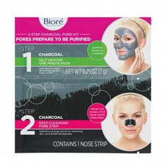 Biore 2-step Deep Cleansing Charcoal Pore Kit (6ct) #FaceScrubHomemade Biore Charcoal Pore Strips, Hair Dye Removal, How To Reduce Pimples, Deep Clean Pores, Bond, Natural Charcoal, Nose Strips, Pore Cleansing, Micellar Water