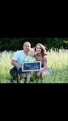Genevieve Elaine Photography. Family photo with chalkboard.