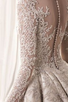 detail ! Krikor Jabotian 2018 bridal collection: sophisticated wedding dresses with impeccable detailing; longsleeve embellished bodice princess ball gown wedding dress; Krikor Jabotian 2018 Wedding Dresses #weddingdresses