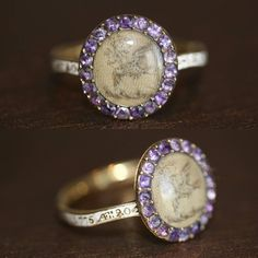 *Sold!* Dating back to 1775 this Georgian mourning ring was made to commemorate the life of Sarah Acklone, who died when she was 20.... 😭😭 it's made with amethysts and white enamel! Bless her soul, she died unmarried - so young. Now the most spectacular detail is the mini tapestry of the peaceful dove with an olive branch... made out of Sarah's hair!!!!! 😍😍😍 amazing.... actually boggles my mind how they made this titchy pieces of art... ill get a closw yo for you later 👊 And how sweet…