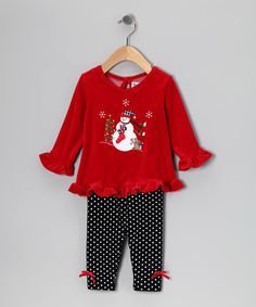 Take a look at this Red Snowman Tunic & Black Leggings - Infant & Toddler by Good Lad on #zulily today!