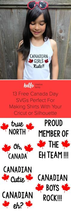 13 Free Canada Day SVGs Perfect For Making Shirts With Your Cricut or Silhouette - Hello Creative Family Cricut Canada, Canada Day Shirts, Canada Day Fireworks, Canada Day Crafts, Canada Day Party, Happy Canada Day, Family Day Canada, Canadian Girls, Patriotic Outfit