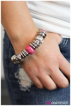 $5.00 Quantity: add to bag Product Description  Classic pink beads combine with a collection of silver accents, including round beads etched with lifelike floral detail along a stretchy band. Overlapping bell-shaped links create the illusion of a thick snake chain.  Sold as one individual bracelet.