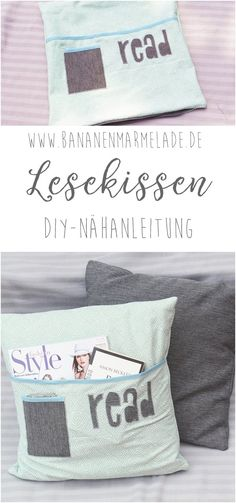 {Näh-Anleitung} Lesekissen mit Bücherfach A sweet idea for all book lovers. The reading pillow adorns your living room and is super practical. The pillow is also a nice gift idea. Peacock Crochet, Dress Sewing Tutorials, Sewing Patterns, Fabric Crafts, Sewing Crafts, Sewing Diy, Sewing Hacks, Craft Projects, Sewing Projects