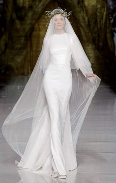 This Pronovias gown reminds me of an update on Julie Andrews wedding gown from The Sound of Music, which is so iconic for me. Wedding Dress Black, Wedding Dresses 2014, Modest Wedding, Wedding Attire, Bridal Dresses, Wedding Gowns, Wedding Veil, Bridal Veils, Geek Wedding