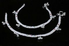 Silver Anklets, Silver Jewelry, Anklet Jewelry, Pearl Necklace, Crochet Necklace, Pairs, Gemstones, Jewels, Detail