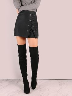 MakeMeChic - MAKEMECHIC Faux Leather Laced Eyelet Mini Skirt BLACK - AdoreWe.com