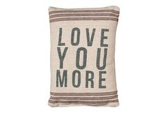 """Add a bit of vintage to any room of your home with this adorable """"Love You More"""", vintage feedsack pillow!    It measures 15.5""""T x 10""""W."""