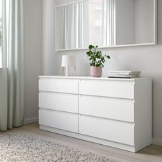 KULLEN Chest of 6 drawers, white, cm. Of course your home should be a safe place for the entire family. That's why a safety fitting is included so that you can attach the chest of drawers to the wall. Chest Of Drawers Decor, 6 Drawer Dresser, Ikea Drawers, White Chest Of Drawers, White Drawers Bedroom, Room Ideas Bedroom, Bedroom Furniture, Grey Bedroom Decor, Home Furniture
