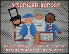 Art and Fluency, Tests and Informational Text. American Heroes is Jam-Packed with Commom Core rigor and fun.  13 American Heroes are included. Perfect for MLK Day, President's Day, Black History Month, and Hero of the Week/ Character education.
