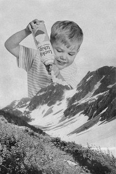 visual arts, mountains, collage art, snow, white, collages, art kids, vintage ads, whipped cream