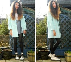 Get this look: http://lb.nu/look/6059173  More looks by Kathryn: http://lb.nu/effievanity  Items in this look:  Topshop Pastel Boyfriend Coat, Atmosphere Denim Skater Skirt, New Look White Crop Top, Dr. Martens White Patent Doc Martens, Dorothy Perkins Birdcage Necklace