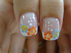 Flowers and white dots nail art design